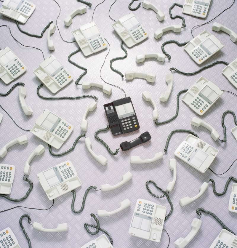 sea of office phones that are off the hook