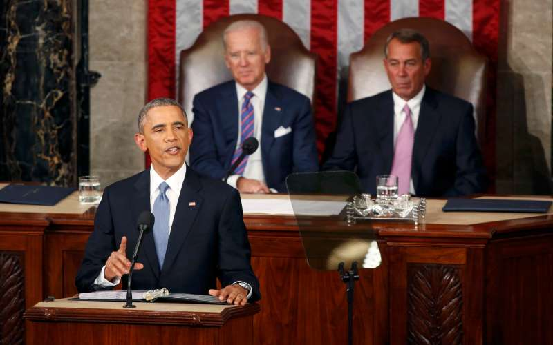U.S. Vice President Joe Biden and Speaker of the House John Boehner watch as U.S. President Barack Obama delivers his State of the Union address to a joint session of the U.S. Congress on Capitol Hill in Washington on Jan. 20, 2015.