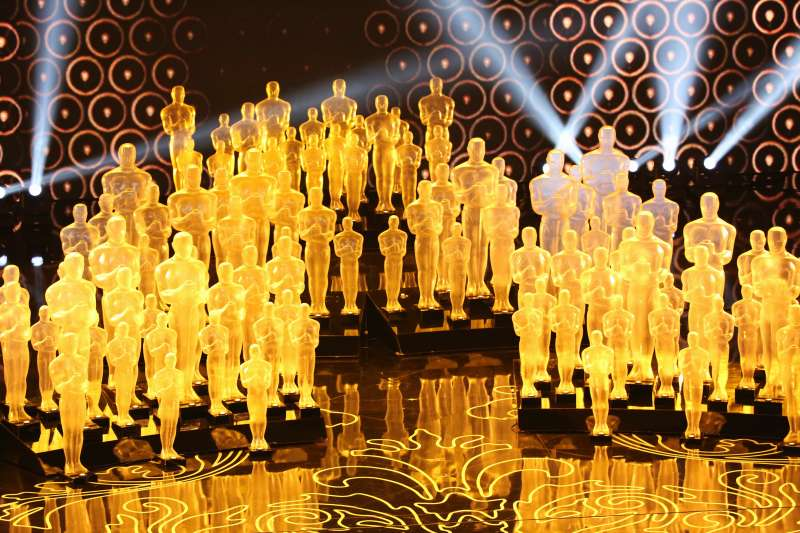 Oscar statues on stage at Academy Awards