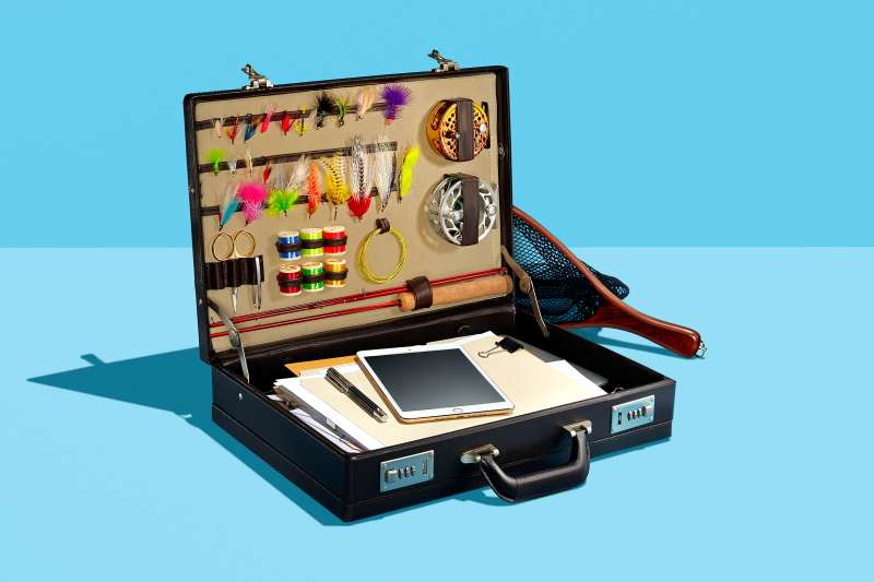 Briefcase with fishing lures