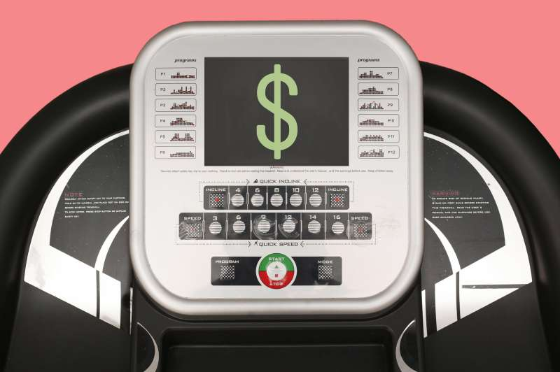 Treadmill screen with dollar sign on it