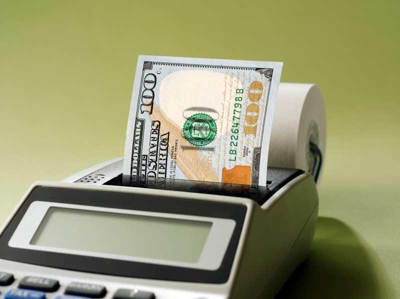 adding machine printing $100 bill