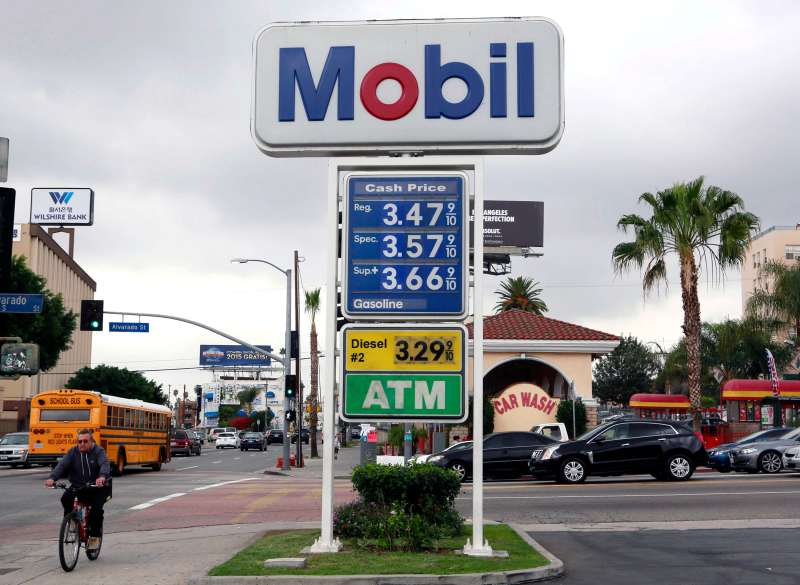 A cyclist rides by a sign at a gas station in Los Angeles posting the latest gas prices on Friday, Feb. 27, 2015. Gas prices in California soared overnight as a result of a combination of supply-and-demand factors worsened by the shutdown of two refineries that produce a combined 16 percent of the state's gasoline.