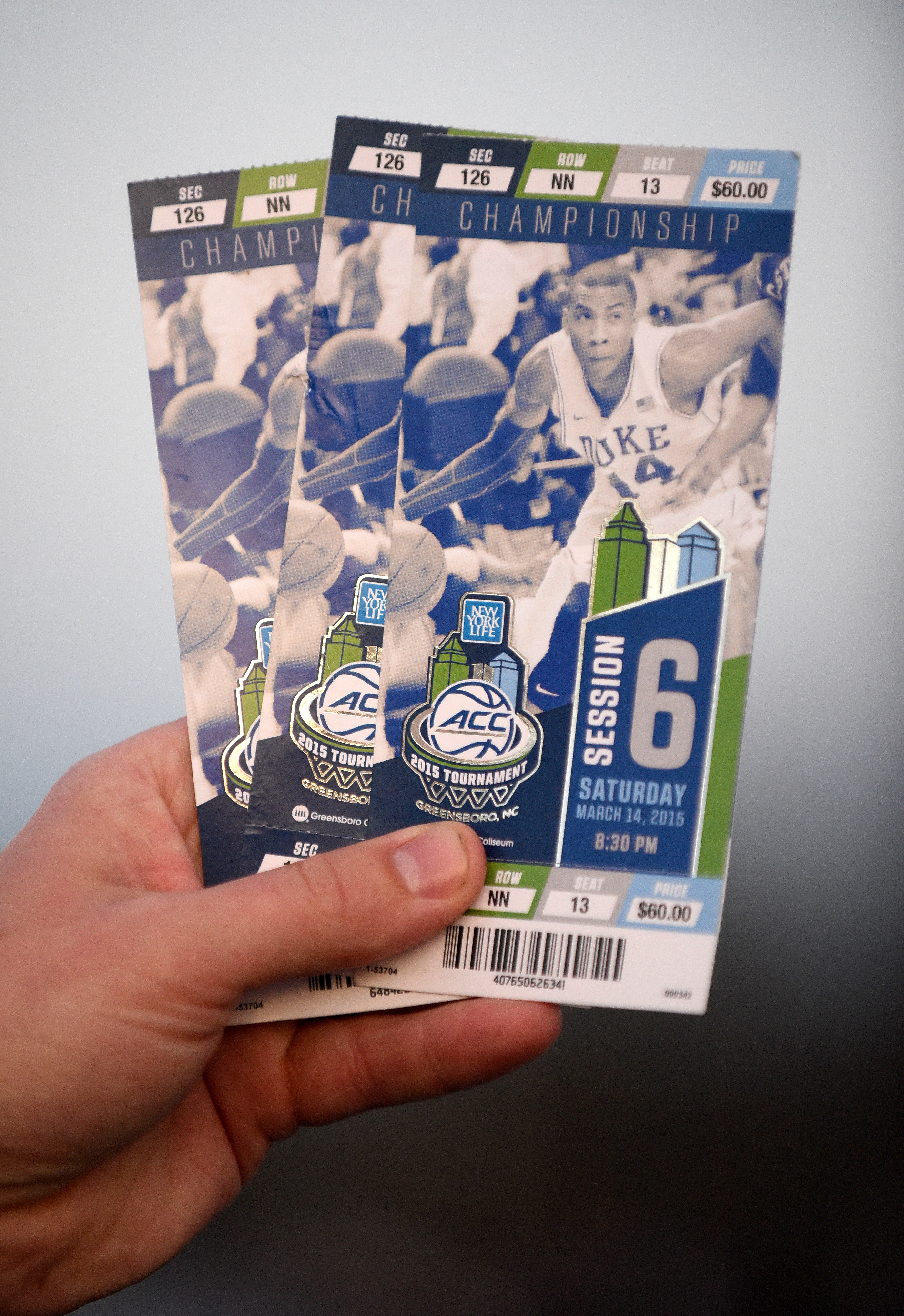 Tickets for the championship game with former Duke Blue Devil player Rasheed Sulaimon ahead of the game betweeen the North Carolina Tar Heels and Notre Dame Fighting Irish for the 2015 ACC Basketball Tournament Championship game at Greensboro Coliseum on March 14, 2015 in Greensboro, North Carolina.
