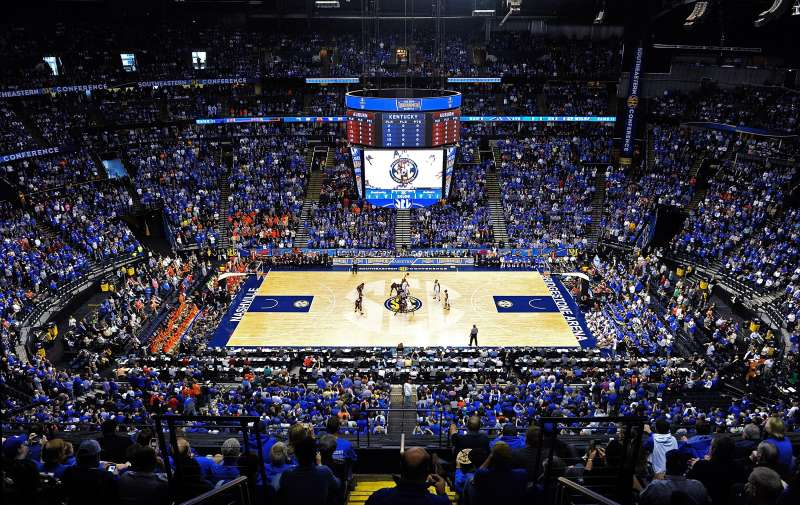 The Semifinal Game between the Kentucky Wildcats and the Auburn Tigers during the SEC Basketball Tournament at Bridgestone Arena on March 14, 2015 in Nashville, Tennessee.