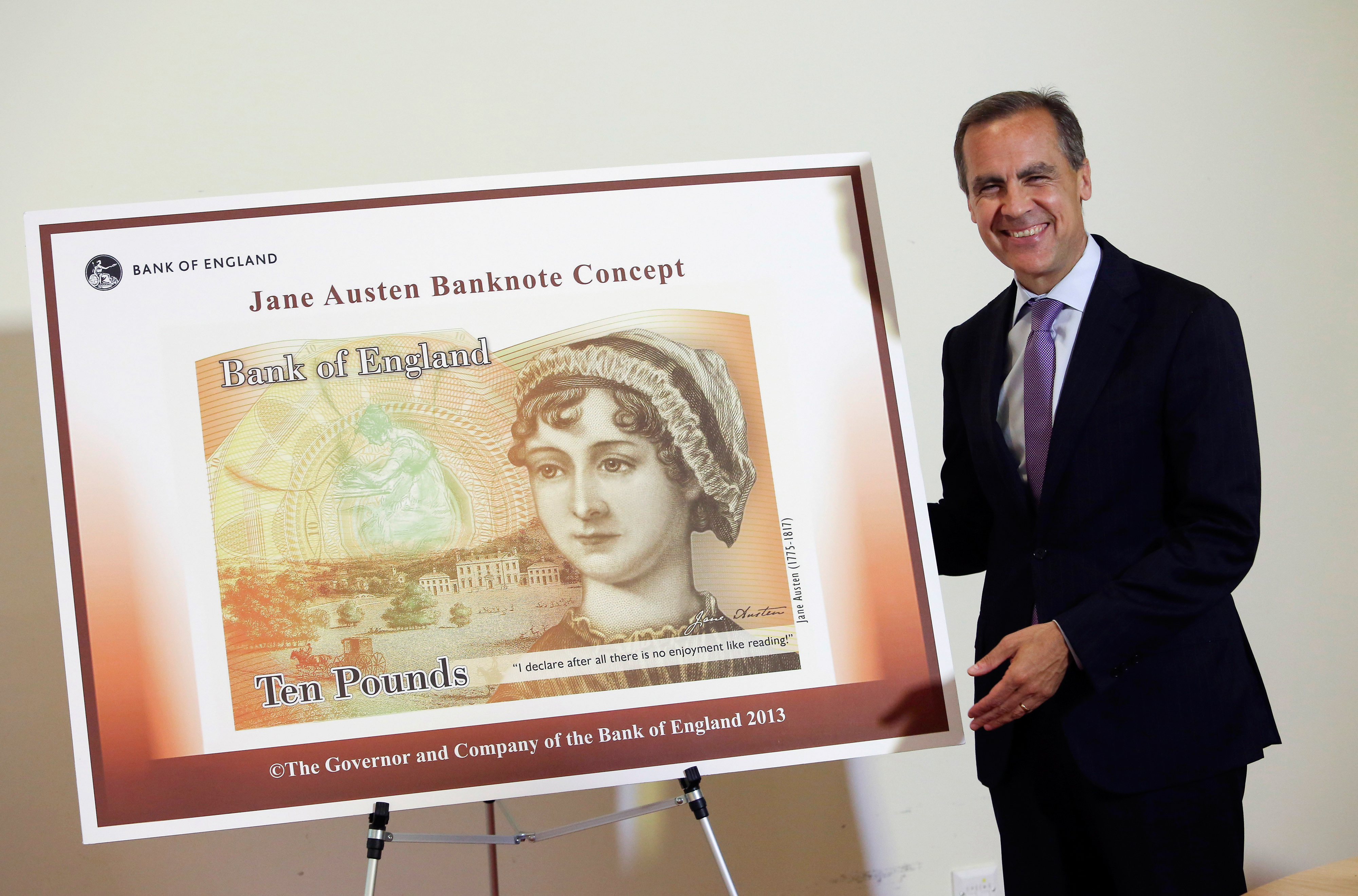 Jane Austen to feature on banknote. Mark Carney, the Governor of the Bank of England, with the ten pound note featuring Jane Austen at the Jane Austen House Museum in Chawton, near Alton. The Austen note will be issued within a year of the Churchill £5 note, which is targeted for issue during 2016.