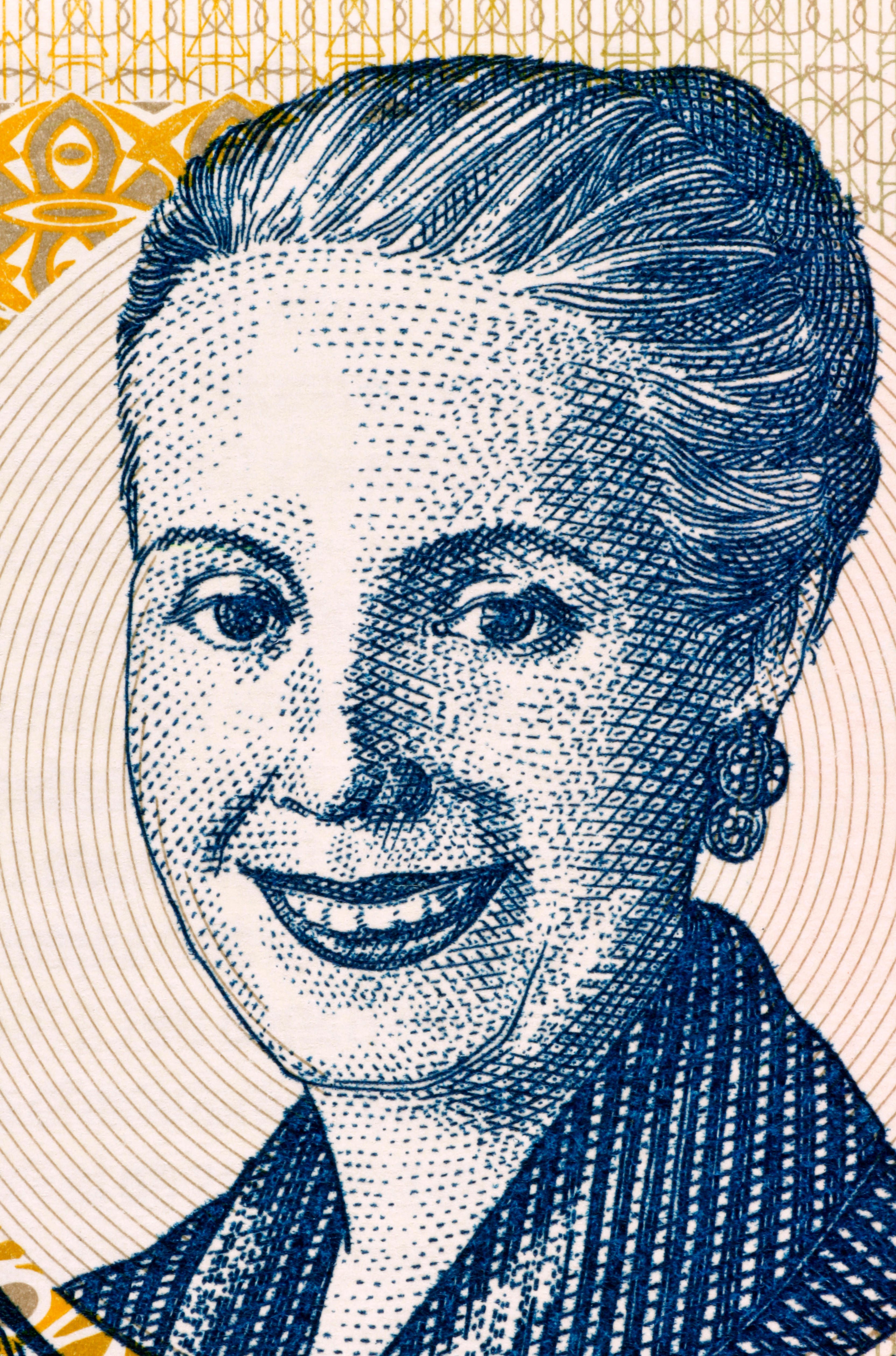 Eva Peron (1919-1952) on 2 Pesos 2001 Banknote from Argentina. Second wife of President Juan Peron.