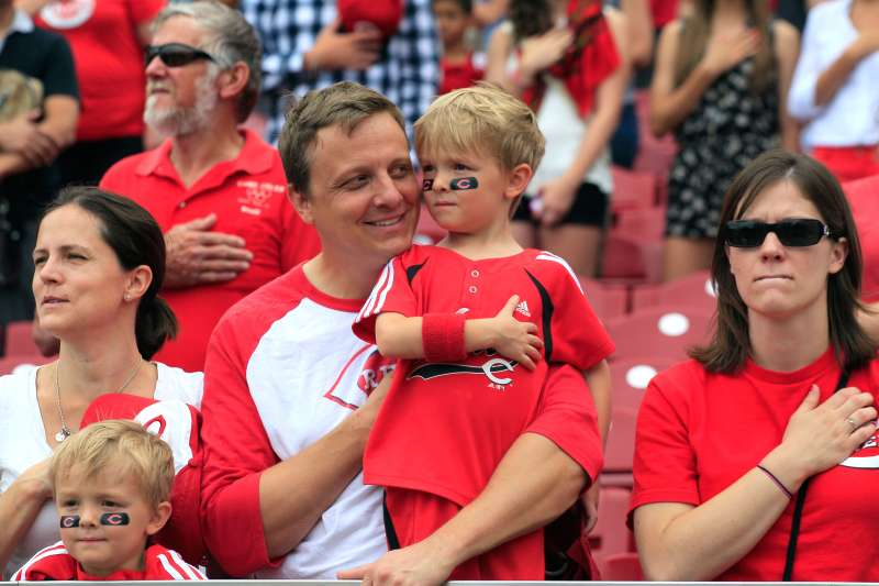 Baseball fans at a Cincinnati Reds game