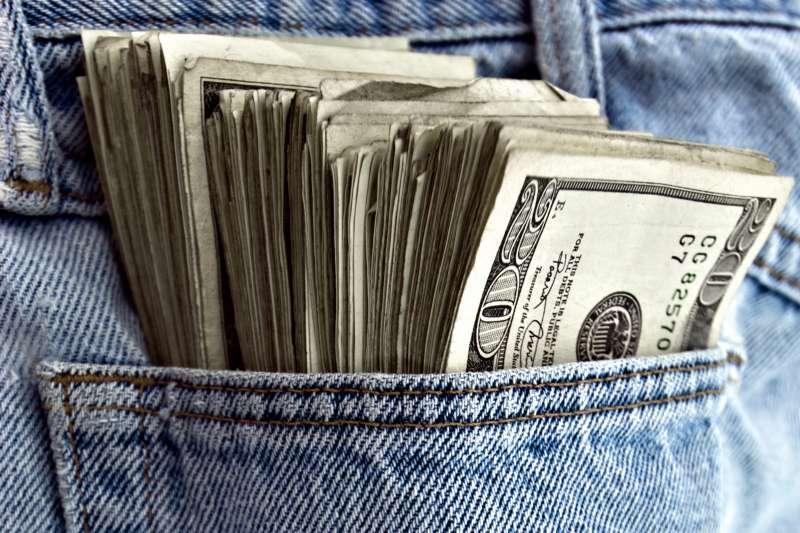 massive amount of cash in pocket