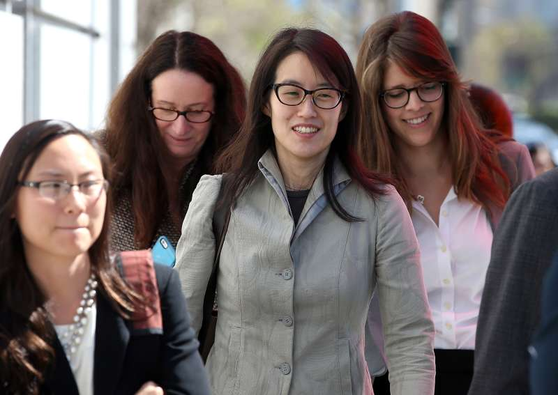 Ellen Pao leaves the San Francisco Superior Court Civic Center Courthouse with her legal team