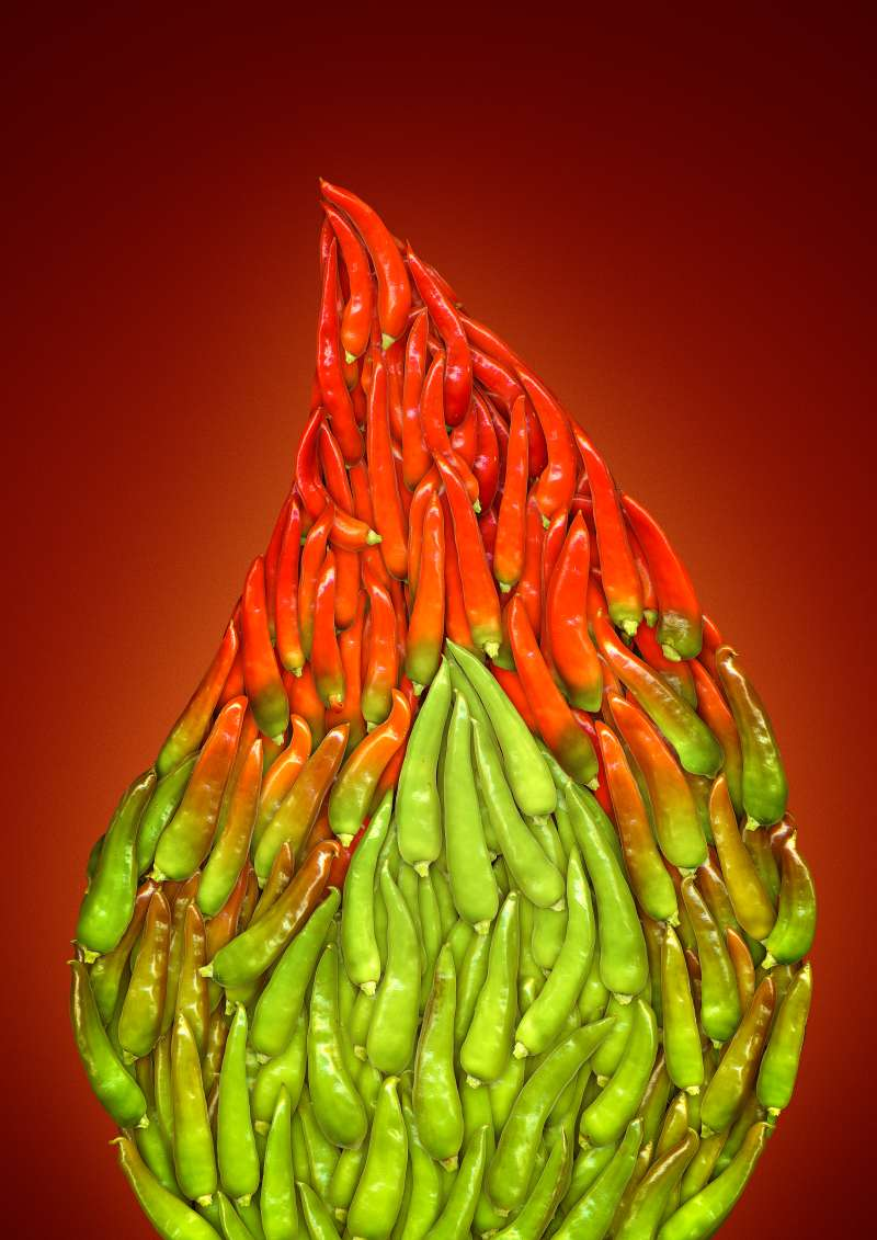 flame made out of still life of jalopeno peppers