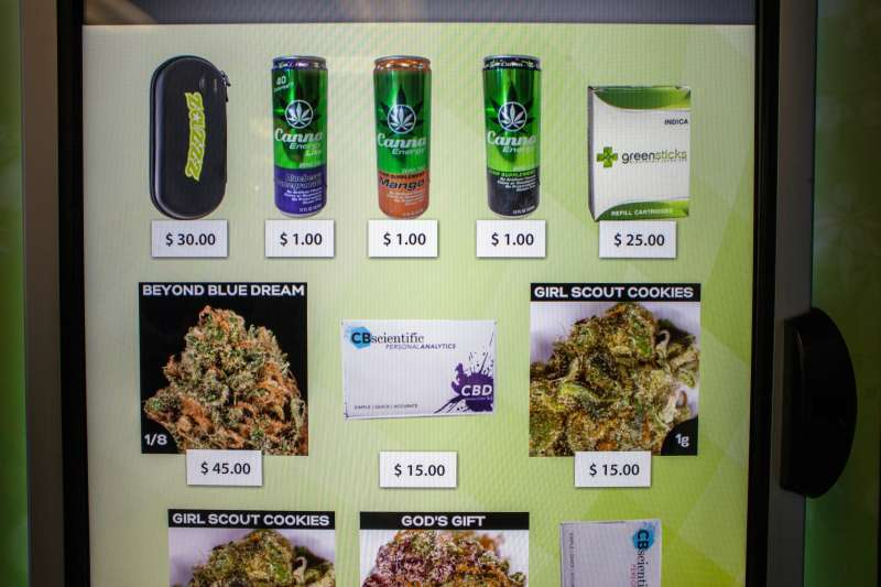 A view of the screen of a ZaZZZ vending machine that contains cannabis flower, hemp-oil energy drinks, and other merchandise at Seattle Caregivers, a medical marijuana dispensary, in Seattle, Washington February 3, 2015. Vending machines selling medical marijuana opened for business in Seattle on Tuesday, in what the company providing them billed as a first-in-the-state innovation that it expects to expand to other cities and states where pot is legal as medicine.