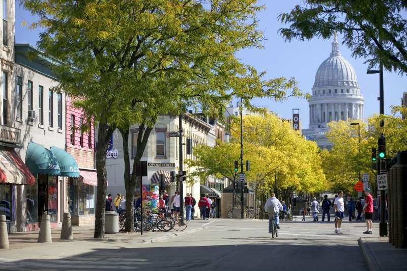 Wisconsin State Capitol and the State Street pedestrian mall, Madison, Wisconsin