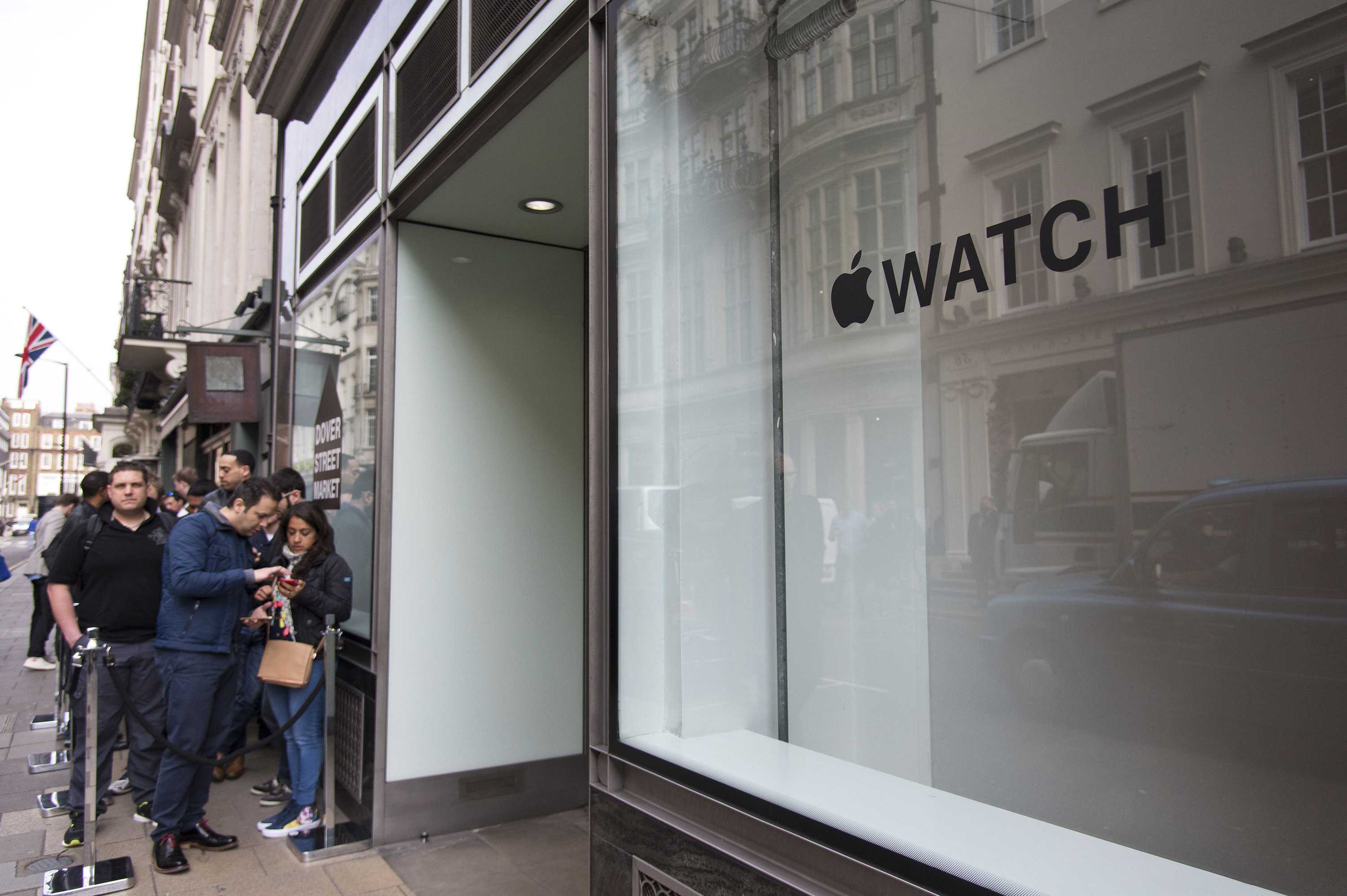 Line of customers waiting to purchase an Apple Watch outside Dover St. Market on April 24, 2015 in London City.