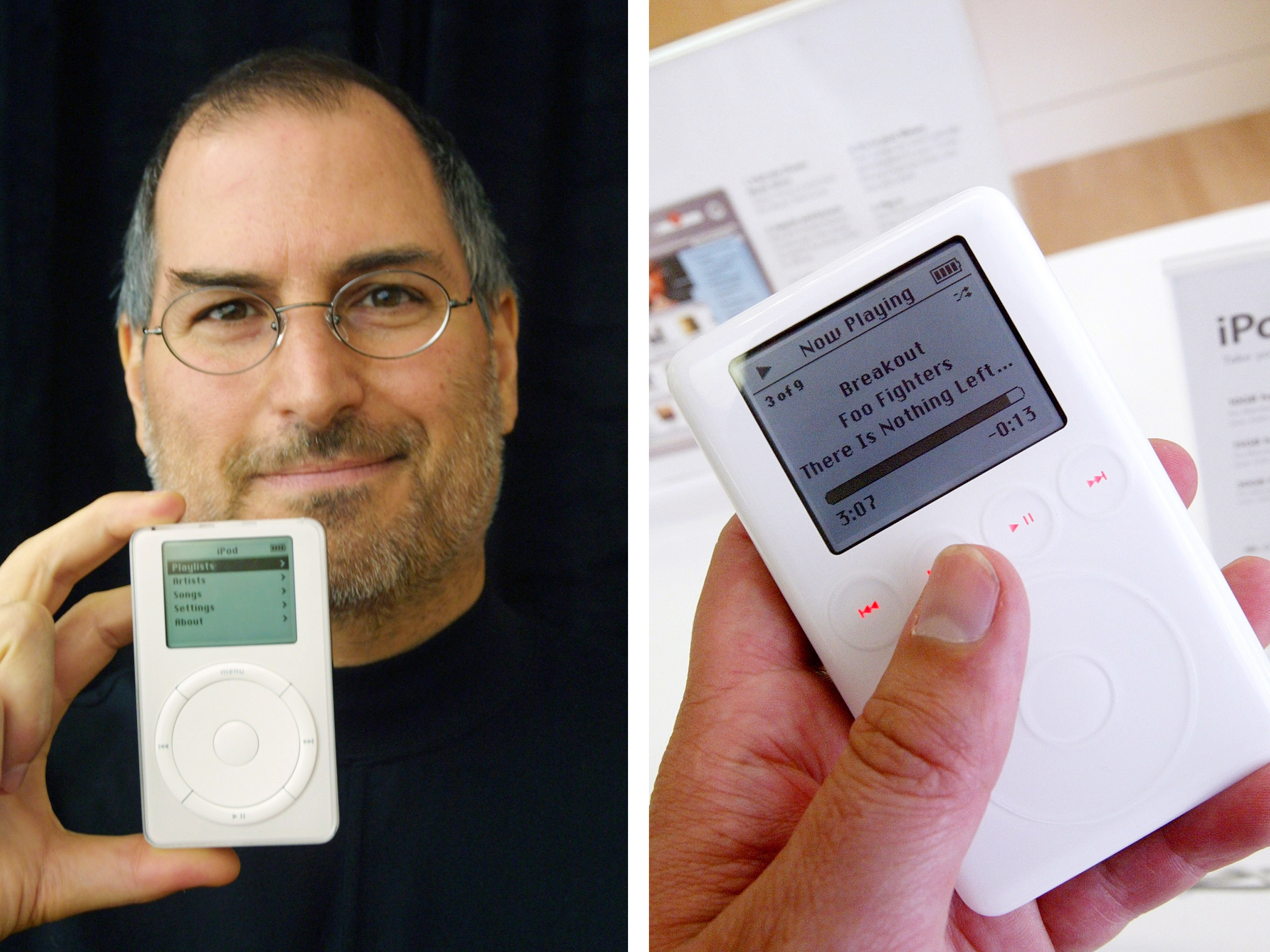 The original iPod (left) was released on November 10, 2001. The cheapest model held 5GB of music and cost $399. On May 2, 2003, Apple released a redesigned iPod (right) with entirely touch-sensitive interface. The new model held 10GB of music and cost $299.