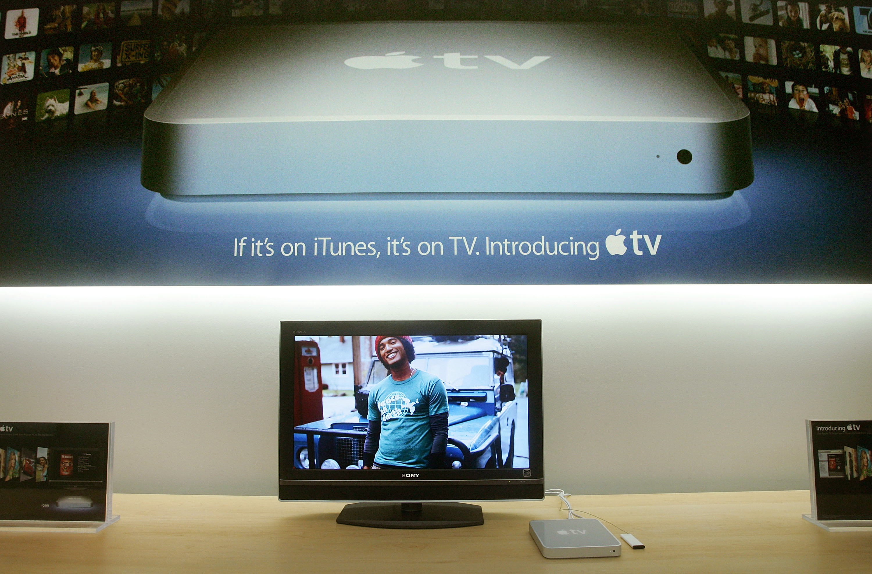 "Called a ""hobby"" by Apple CEO Steve Jobs, the Apple TV appeared in stores on March 21, 2007. The device was priced at $299 and stored 50 hours of video."