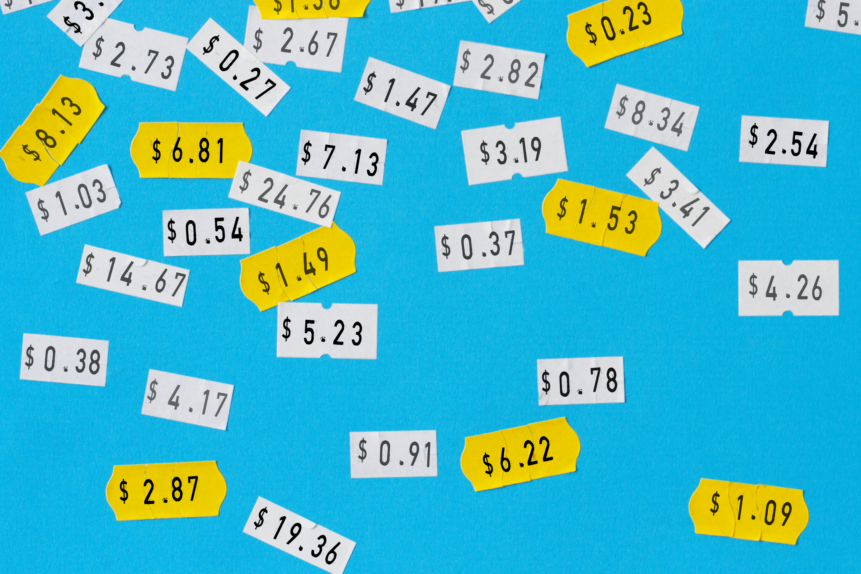 price stickers on cyan background