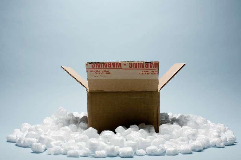 box with styrofoam peanuts