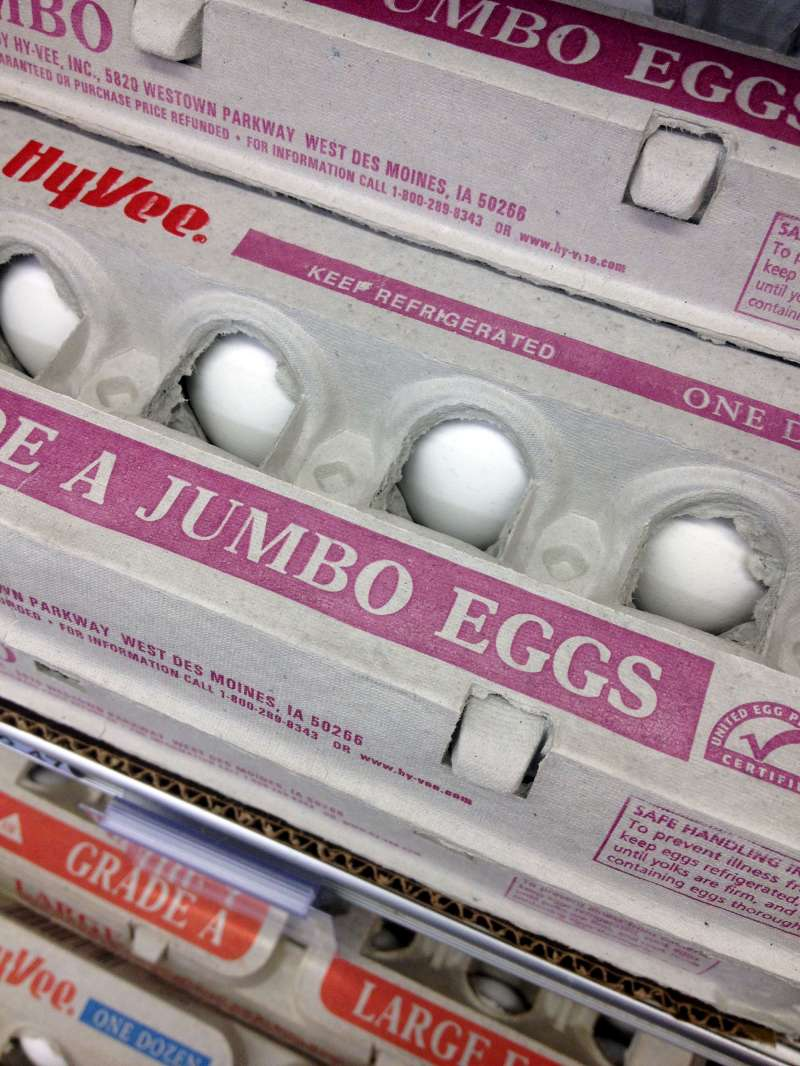 Eggs for sale in a Des Moines, Iowa HyVee grocery store