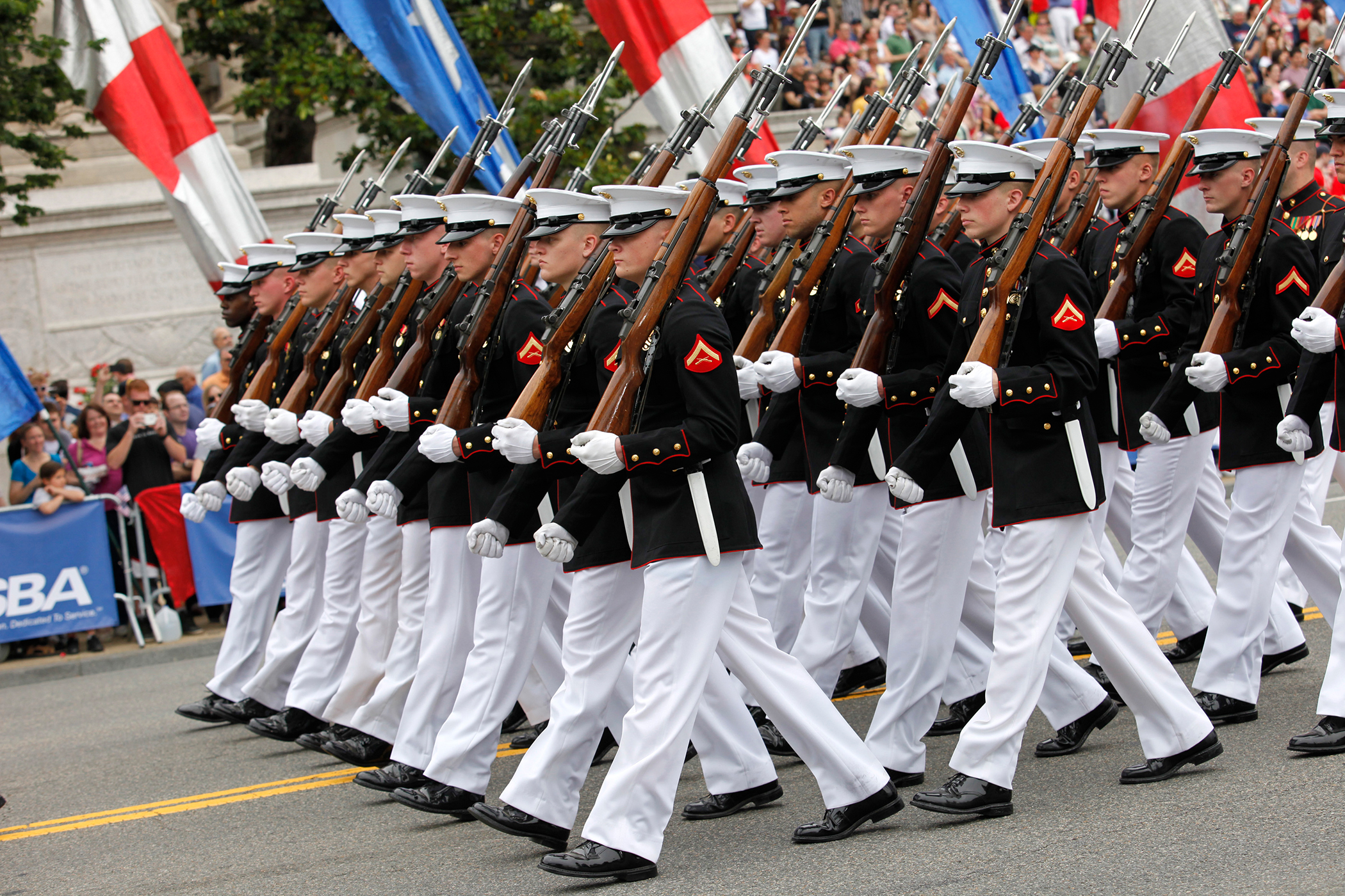 U.S. Marines march during the National Memorial Day Parade on Constitution Avenue in Washington, May 27, 2013.