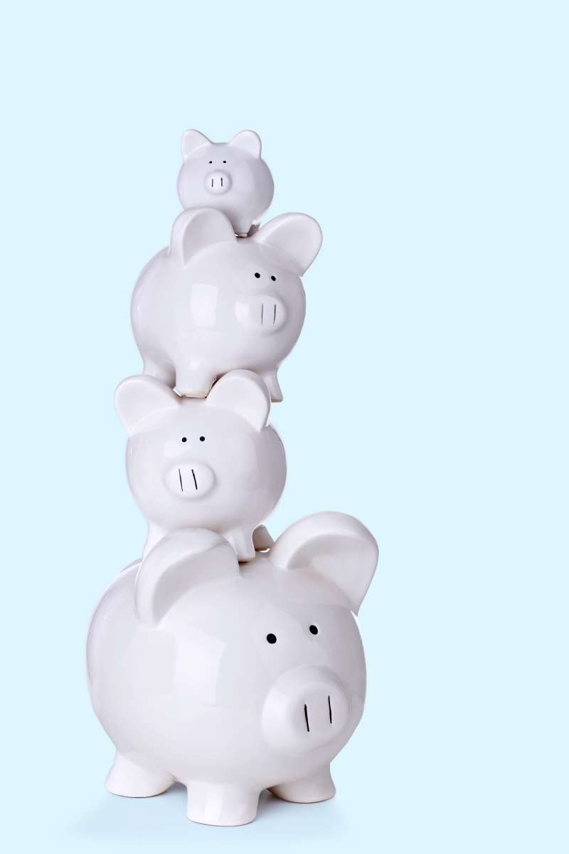 stacked piggy banks