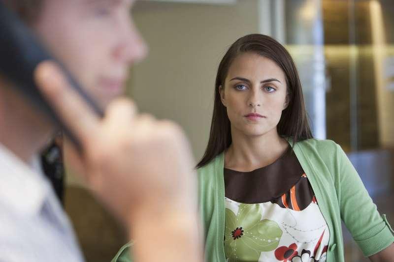 woman glaring at boyfriend