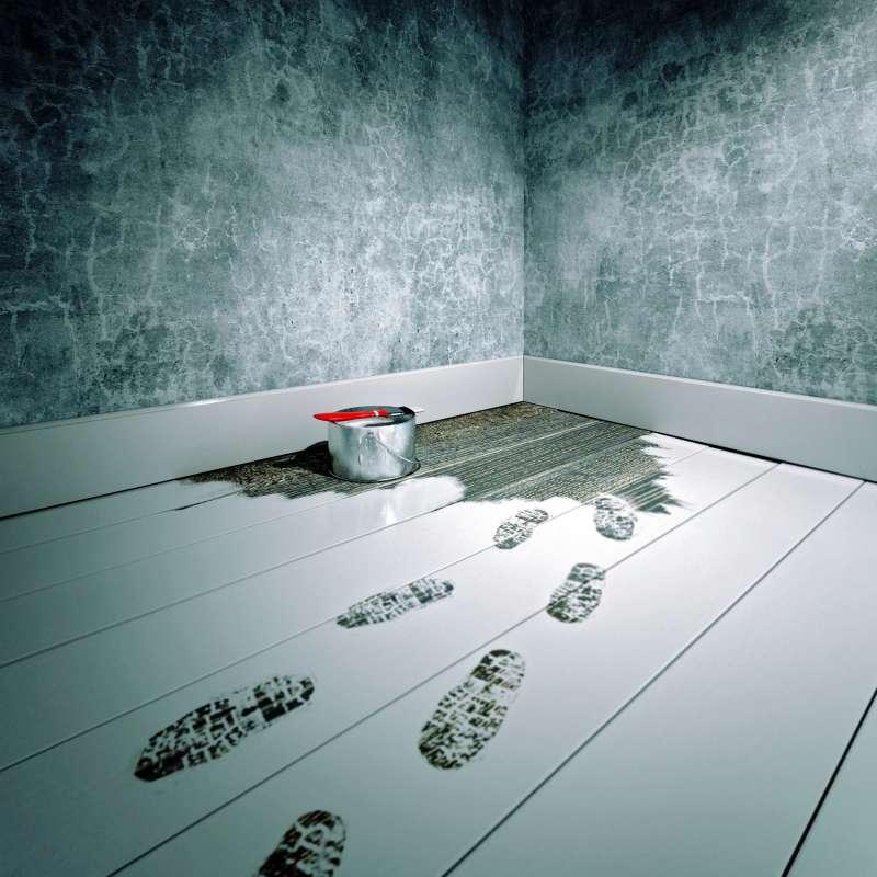 paint footprints on floor