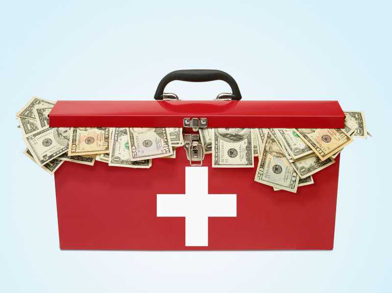 first aid kit with money in it
