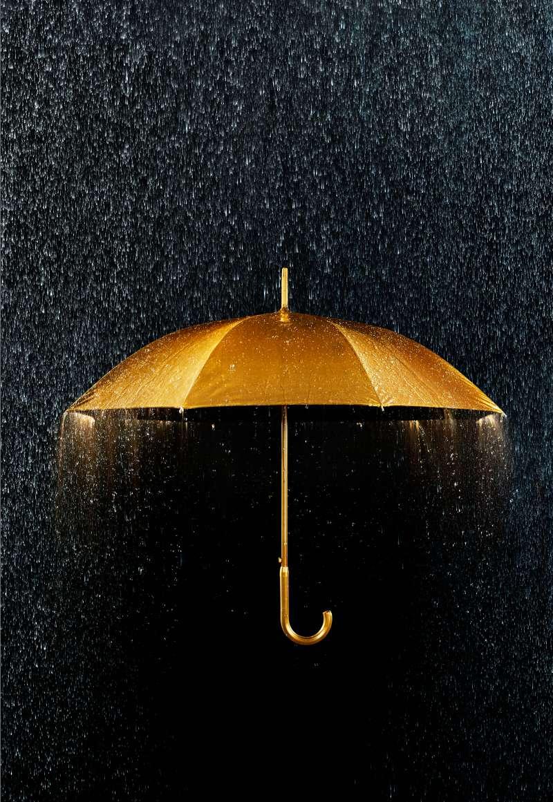 golden umbrella