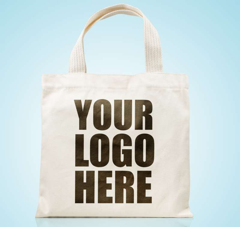 Your Logo Here  written on canvas tote bag
