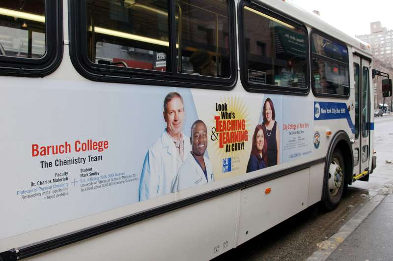 Advertisement for Baruch College of CUNY on the side of a NYC transit bus