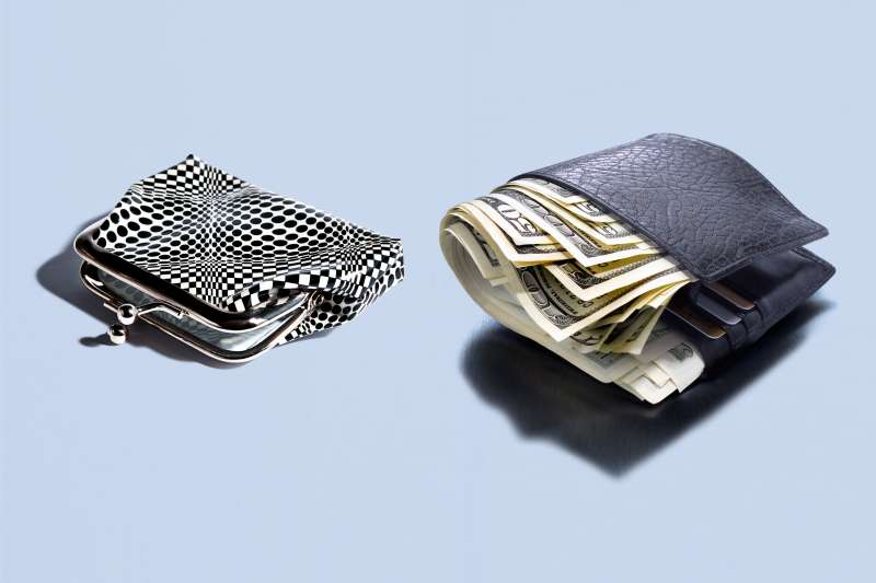 woman's coin purse and men's billfold
