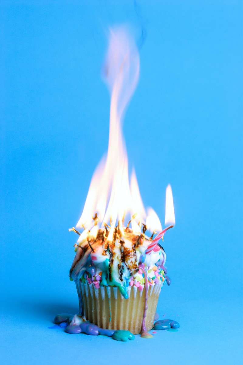 cupcake ruined by excessive amount of melting candles