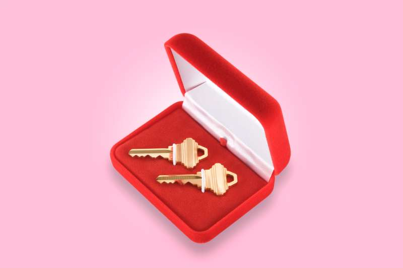 house keys in a ring box