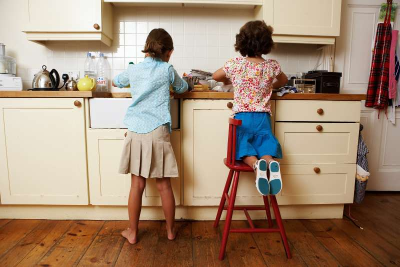 sisters doing dishes