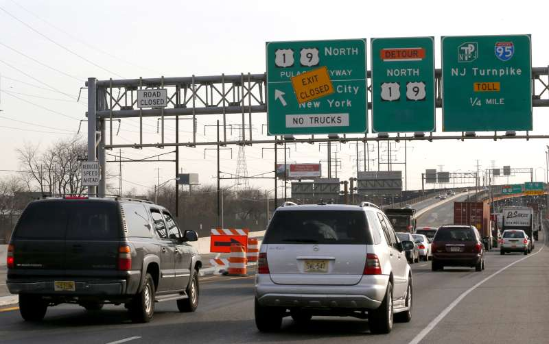 Vehicles on the Pulaski Skyway at the entrance to the New Jersey Turnpike near Newark, New Jersey
