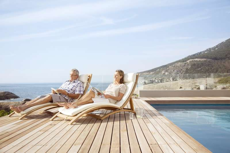 wealthy couple on retirement vacation