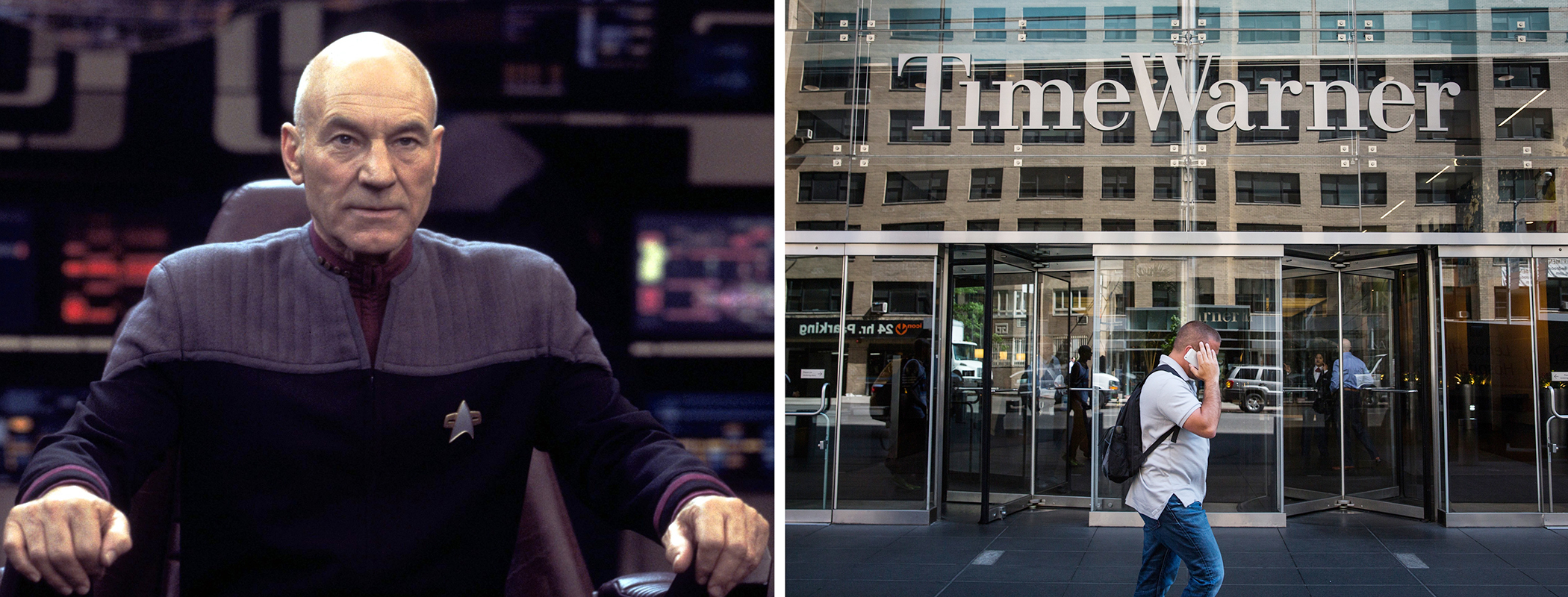 Patrick Stewart in Star Trek and Time Warner Cable exterior