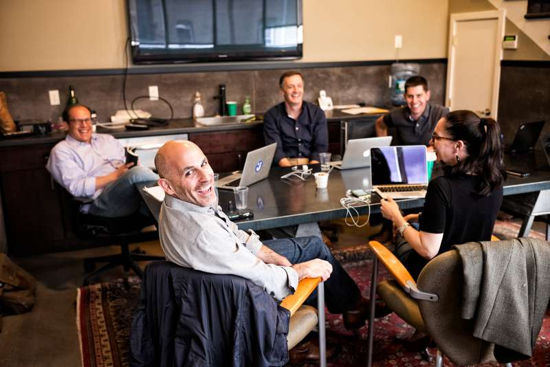 Marc Lore, CEO of new e-commerce site jet.com and his team during a meeting in the conference room at jet.com headquarters on Apr. 28, 2015 in Montclair, NJ.