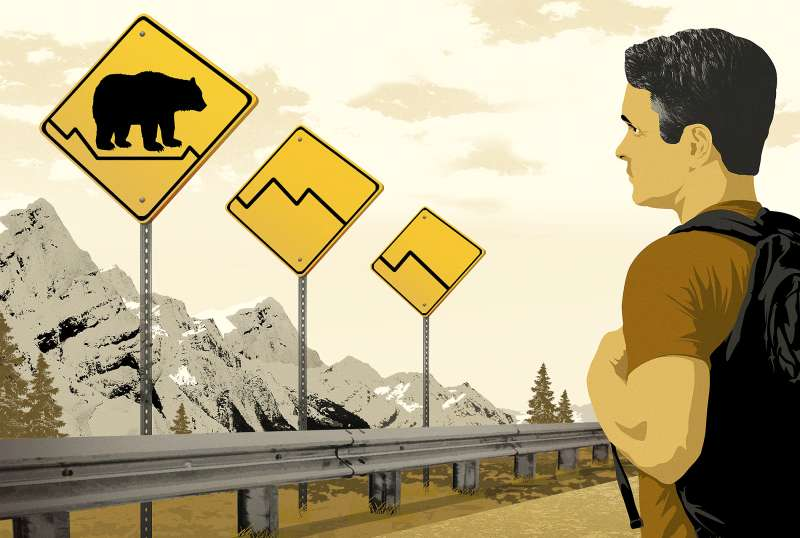 highway signs with bear crossing and fever chart