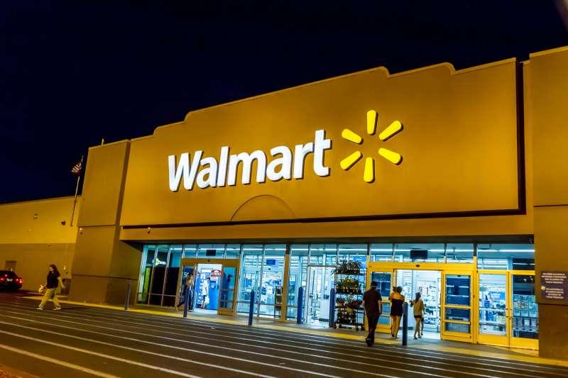 Exterior of Walmart store at night