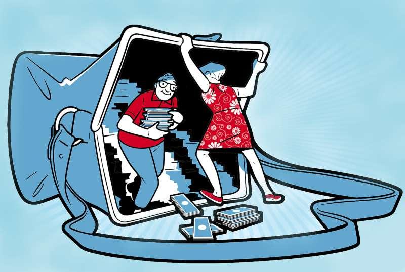 illustration of senior couple taking money out of purse