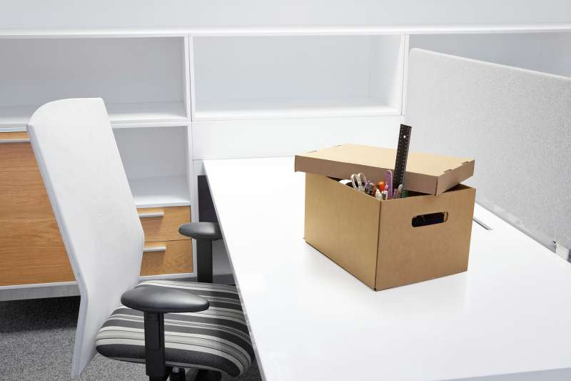 box on desk after termination