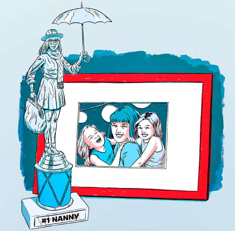 Illustration of Nanny with kids and trophy next to picture