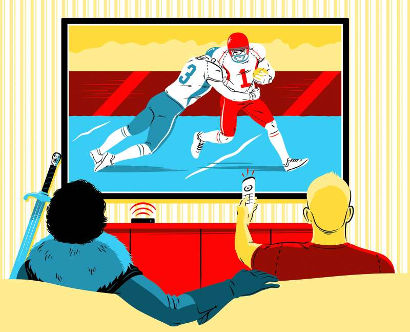 illustration of people on sofa watching sports on TV