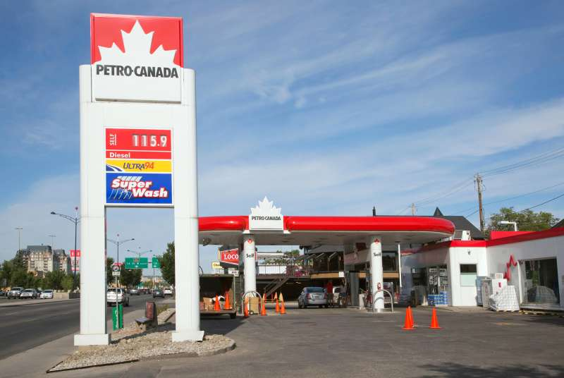 Gas station along the Trans-Canada Highway (16th Avenue) in Calgary.