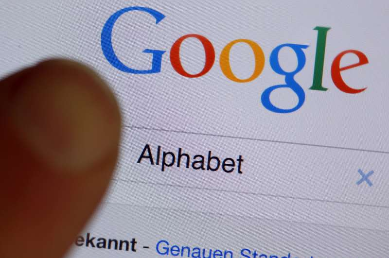 Google on internet browser with  alphabet  in the search field