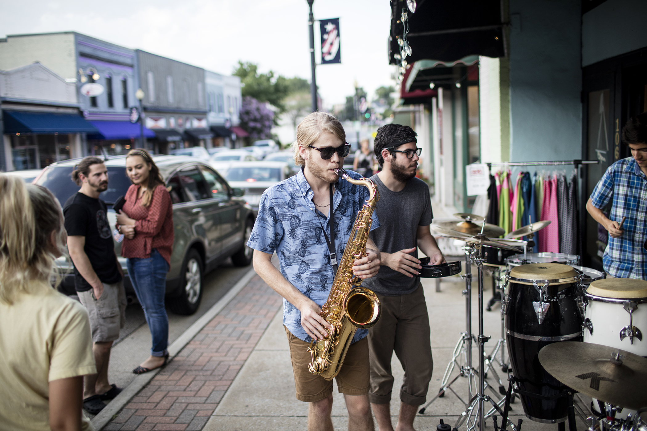 The GrayScale Whale band plays along Salem Street in downtown Apex, NC
