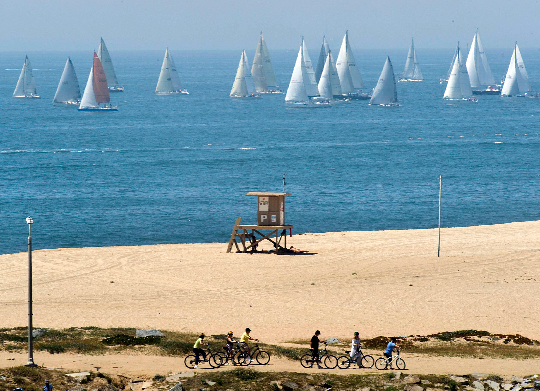 Sailors race southward to Ensenada from Newport Beach in the 64th Annual Newport to Ensenada Yacht Race near Anaheim, California.