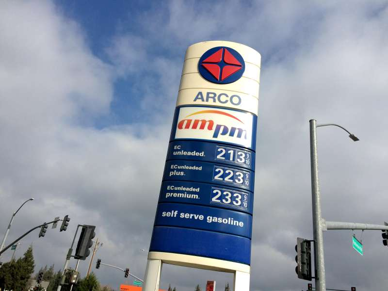 Arco gas station, Riverbank, Stanislaus County, California, January 21, 2015.